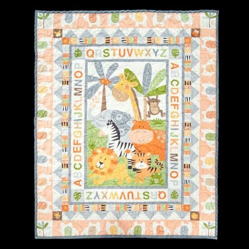 Jungle Friends Quilt Panel KIT - Peach